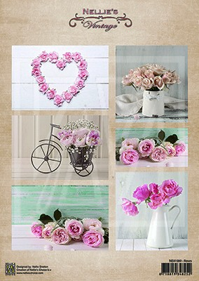 """Nellie's Vintage sheets A4 """"roses"""""""
