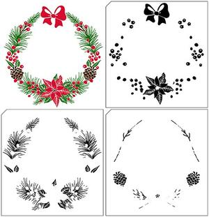 Layered stamps with position edge: Xmas wreath