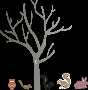 Birch Tree w Cute Critters