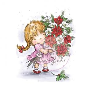 Clear Stamp Girl with Xmas Bouquet